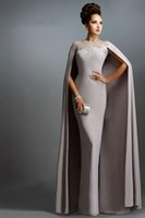 Wholesale Janique Long Mermaid With Cape Lace Mother of the Bride Dresses Formal Party Plus Size Prom Gowns For Wedding Bride Guest Dress