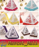 Wholesale DY105 NEW High Quality Wedding Candy Boxes Unique colors Cut Outs flower pyramid Candy Boxes Wedding Favors Holder Gift CB2024