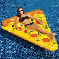 Wholesale 2016 The new style of water toys giant slice of pizza yellow inflatable floating bed raft inflatable mattress cm summer vacation