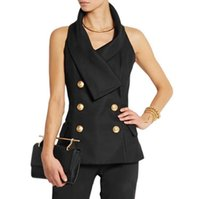 Wholesale HIGH QUALITY New Fashion Career Style Women Gold Buttons Double Breasted Halter Backless Vest Top White Black Size S XL