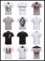 Wholesale Boy Short Sleeve Philip Plein Polo Shirts Men s Cotton Turndown Collar Tees Polos D Skulls Shirt PP T Shirt Slim Men Casual Tshirt