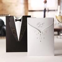 Wholesale 2016 Wedding invitation wedding invitations wedding invitation card in black and white dress Korean wedding invitations