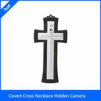 Wholesale 4GB Mini DVR Video Recorder Cross Necklace Covert Hidden Spy Camera DV Camcorder