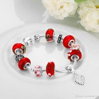 Wholesale Fashion Charm Rhinestone Silver Plated Bracelets European Charm Snake Chain Red Good Luck DIY Beads Fits Pandora Bracelets for Women Girls