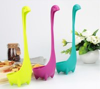 Wholesale Creative Nessie Dinosaur Soup Spoon Long Handle Lovely Monster Porridge Spoons Dinnerware Cooking Tools Kitchen Accessories