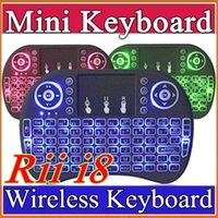 Wholesale 20X Rii I8 Smart Fly Air Mouse GHz Wireless Bluetooth Keyboard Touchpad White Multi color Backlit S905X S912 TV Android Box Remote A FS