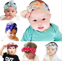 Wholesale New Baby Girls DIY Bunny Ear Headbands Kids Knotted Cotton Hairbands Children Infant Lovely Polka Dot Hair Accessories Head Wrap KHA25