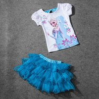 Wholesale New Girls Short Sleeve T shirt Skirt Set Kids Frozen Cotton White Bow Back Top with Blue Ruffles Cake Tutu Pettiskirt Two pieces Free Ship