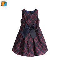 Wholesale YAKUYIYI Brand New Bow Plaid A line Girls Dress Sleeveless Crew Neck Princess Girls Vest Dress Children Clothing