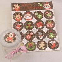 Wholesale cm Round Paper Merry Christmas Decoration Stickers Envelope sealing Gift Baking Packagiing Sticky paper