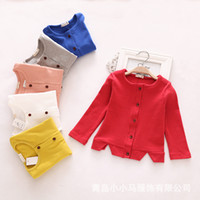 baby clothes cardigan - 2016 Spring autumn New arrival Girl coat baby clothes children coat pure color cotton Korean fashion cardigan Buckle coat