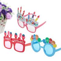 al por mayor gafas de sol de cumpleaños-Divertida linda torta de cumpleaños Gafas para niños y colorido magníficos gafas de sol para niños de cumpleaños de vacaciones vidrios del partido Accesorios Gafas