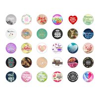 Wholesale 60pcs Mother s day gift mm glass print snap button jewelry luxurious alloy bottom fit ginger snaps buttons necklace GS2482 jewelry mak