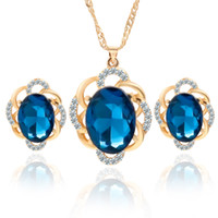aqua wedding cakes - The new Europe and the United States sell like hot cakes crystal necklace earrings suit portfolio earrings pendant jewelry sets