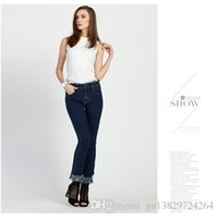 Wholesale This year Spring and summer Waist Stretch slim fashion high grade breathable crease resist fabric wear blue jeans trousers flash micro s