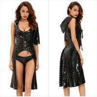 Wholesale New Halloween Sexy Black Gothic Punk Wetlook Sweet Pea Hooded Coat and Underwear Cosplay Set For Women
