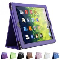 Wholesale 1Pc litchi pattern protective PU leather case For iPad with sleep wake up function