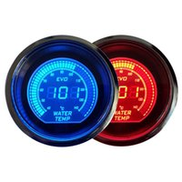 Wholesale Hot quot mm Water Temperature Gauge V Blue Red LED Light Tint Lens LCD Screen Car Digital Temp Meter Black Universal