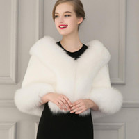 Wholesale White Faux Fur Wedding Bridal Wrap Shawl Autumn and Winter Warm Women Faux Fur Coat Wedding Bolero Jacket Shrug Cape Plus Size