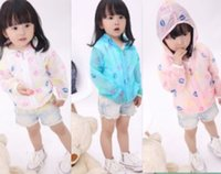 air conditioner protection - 2016 Children girls sun protection coat Long sleeve thin lips print Summer air conditioner casual hooded homewear white blue pink cm