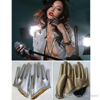 Wholesale Women Lady Short Half Palm Gloves Cool Synthetic Leather Gloves C00453