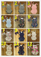 baby girl lace rompers - 22 Style Infant Flora Romper Bowknot Headband Babies Girl Romper Cotton Kids Clothes Baby Girls piece Rompers Jumpsuit K8077