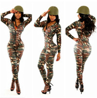amp sleeve - Green Camouflage Sexy Nightclub Skirt Pants Long Sleeve Army jumpsuit jump suit ladies bodysuit women clubwear amp rompers v neck blue