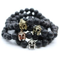 antique warrior - Antique Gold Plated Roman Warrior Gladiator Helmet Bracelet Men Black Lava Rock Stone Bead Bracelets For Men Pulseras N0