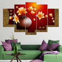 Wholesale 5 Piece Canvas Oil Painting Flower Vase Picture HD Print Wall Pictures For Living Room Paintings Cuadros Decorativos No Frame