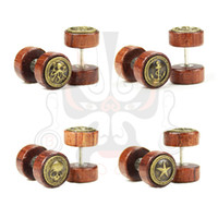 Wholesale 2015 hot sale wood ear earrings tunnel fake plugs ear taper guages piercings body jewelry stretchers mm SS