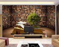 Wholesale 3D photo wallpaper custom d wall murals wallpaper mural D murals Creative Book Shelf Living Room Backdrop d living room wall decor