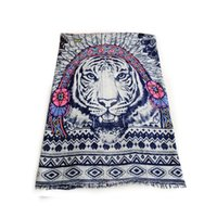beach head scarf - 2016 Indian Tiger Head and Feather Twilly Cotton Blend Scarf Shawl Women Beach Scarf Geometry Ladies Scarves Foulard