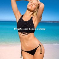 beaded beachwear - DHL free ship Women black bandage bikini beachwear Plus size Swimwear beaded halter Swimsuit Beach Bathing Suit swimming pool sets sexy