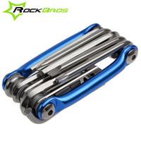 Wholesale ROCKBROS Mini Repair Pocket Folding Tool in Bicycle Moutain Road Bike Tool Set Cycling Multi Repair Tools Kit Wrench