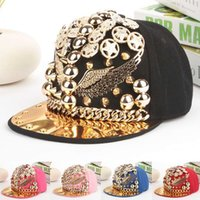 adult robin - Top Quality MLB Mens Hiphop Adjustable Caps Personality Rivets Chain Decorate Robin Baseball Snapback Hats Women Headware