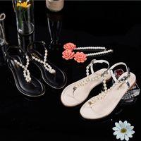 beads sandals - sandals Bohemian Qaulity Beads Pearls Low heels ladies flat gladiator sandal Flip Flops size Eur