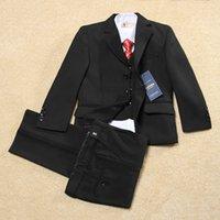 Wholesale Y Boys classic pure black Children Suit toddler boys clothing flower boys formal suit Kid Wedding Prom Suits Jacket Pants Vest Tie