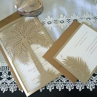 Wholesale Newest Newmengxing Wedding Invitation Custom Laser Cut Wedding Invitation Palm Tree Tropical Destination Wedding