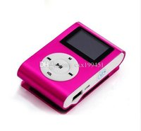 Wholesale MINI Clip MP3 Player with Inch LCD Screen Music player Support Micro SD Card TF Slot Earphone USB Cable with Gift box