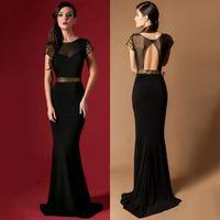beaded flowers free patterns - Mermaid Elegant Long Evening Dresses Short Sleeves Cheap Formal Dresses Gowns Black Sheer Neck Sequins Prom Dresses