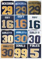 Wholesale Best quatily jersey Men s Jared Goff Eric Dickerson Todd Gurley II Aaron Donald elite jersey Navy Blue Light Blue