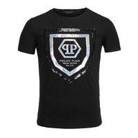 Wholesale NEW Arrive GRAMENT Tide Brand Cotton Short Fit Slim Casual Tee Sequin Print MENS T shirts Top Quality P5207