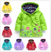 Wholesale 2016 New Spring Autumn Children Raincoat Jacket Fashion Waterproof Windproof Hooded Jackets For Girls Cute Flowers Printing Coat Outwear