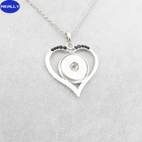 antique heart pendants - REALLY Hot Sale White Antique Silver Plated Noosa Love Heart With MM Snap Button Necklace DIY Jewelry