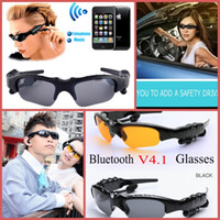 Wholesale Sunglasses Bluetooth Headset Wireless Sports Headphone Sunglass Stereo Handsfree Earphones mp3 Music Player With Retail Package DHL FREE