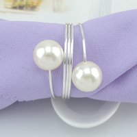 Wholesale 50pcs Elegant White Pearl Silver Napkin Rings For Wedding Party Reception Table Decorations Supplies
