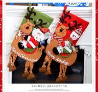 Wholesale Christmas Socks Christmas Gifts Large Socks Gift Bags Snowman Elk Christmas Tree Pendant Red Green Gift Socks