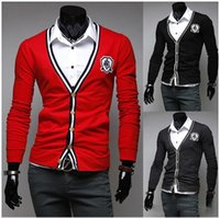 Wholesale knitted sweater jackets for men sweaters cardigan men wear v neck long sleeve red black gray slim men s clothing