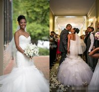bandages uk - 2016 Backless Mermaid UK Wedding Dresses Vintage Sweetheart Tulle Ruffles Tiered Skirts Sexy African American Wedding Bridal Gowns Bandage