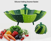 Wholesale 2016 Kitchen assistant Retractable folding steamer steaming plate fruit plate for all medium and small silicone steamer steam tray